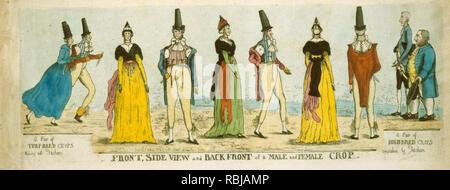 """Vorder-, Seitenansicht und Zurück vor einer männlichen und weiblichen crop-Print zeigt die Vorder-, Seiten- und Rückansicht einer Frau und eines Mannes modisch gekleidet; auf der linken Seite sind ein paar Rasen - gezüchtete Kulturpflanzen, die mit der Mode' und auf der Rechten, """"ein paar Pflanzen überholt durch Art und Weise gezüchtet."""" 1781 - Stockfoto"""