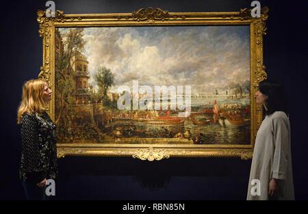 Die Öffnung der Waterloo Bridge John Constable, auf Anzeige an der Königlichen Akademie der Künste in London zum ersten Mal seit der Künstler mit J.M.W Turner im Sommer Ausstellung 1832 zusammengestoßen. - Stockfoto