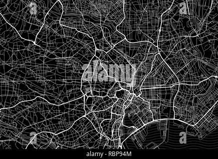 Dunkle Fläche Karte von Tokio, Japan. Diese Artmap von Tokio enthält Geographie Linien für Land, Wasser, große und kleine Straßen. - Stockfoto