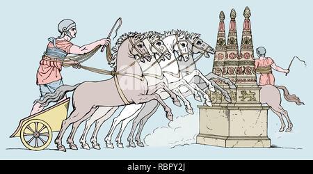 Römische Reich. Römische chariot Rennen. Gravur, 19. - Stockfoto