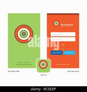 Unternehmen Dart spiel Splash Screen und Login Seite Design mit Logo Vorlage. Mobile Online Business Template - Stockfoto