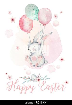 frohe ostern, baby bunny, hase und ei auf grünem