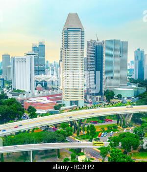 Antenne Stadtbild von modernen Singapur Metropole mit Infrastruktur - Stockfoto