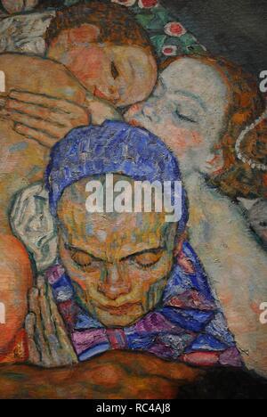 """Gustav Klimt (Wien, 1862, Wien, 1918). Österreichische symbolistische Maler. Mitglied der Wiener Secession. Morte e Vita """"Tod und Leben"""", 1915. Detail. Öl auf Leinwand. 178 cm x 198 cm. Leopold Museum. Wien. Österreich. - Stockfoto"""