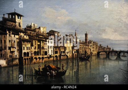 Bernardo Bellotto (1721-1780). Italienische urbane Landschaft Maler oder vedutista. Neffe von Canaletto. Der Fluss Arno in Florenz, 1742. Öl auf Leinwand, Museum der Bildenden Künste Budapest. Ungarn. - Stockfoto