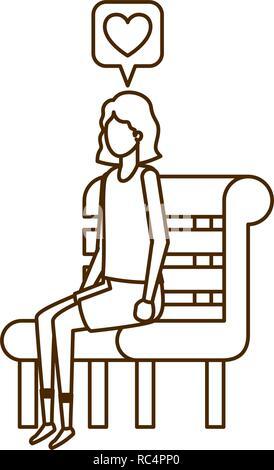 Frau sitzt auf der Bank mit Sprechblase - Stockfoto
