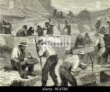 Australien. 19. Gold Rush. Prospektoren auf der Suche nach Goldklumpen. Gravur. - Stockfoto