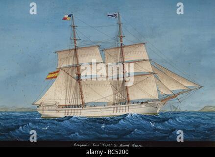Brigantine Eva. In Lloret de Mar, Katalonien (Spanien) gebaut. Aquarell von Jose Pineda Guerra (1837-1907), 1894. Maritime Museum. Barcelona. Spanien. - Stockfoto