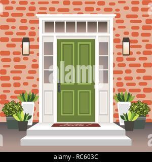 Haus Tür vorne mit Tür und Schritte, Lampe, Blumentöpfe, Gebäude Eintrag Fassade, außen Eingang mit brick wall Design Illustration Vektor i - Stockfoto
