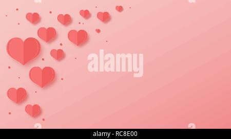 Vector Illustration der abstrakten Papier Herzen über rosa Hintergrund für ihr Poster, Banner, Postkarte, Einladung oder Grußkarte design - Stockfoto