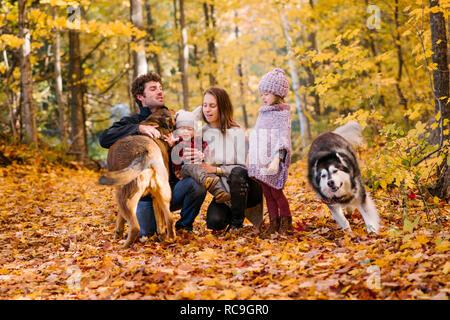 4-köpfige Familie und Hunde im Wald - Stockfoto
