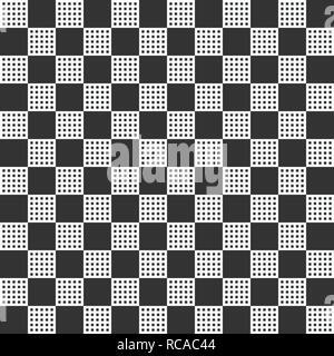 Zusammenfassung nahtlose Muster mit großen und kleinen Plätzen. Modernes, stilvolles karierten Textur. Wiederkehrende geometrische Fliesen. Einfache Grafik Design. Vektor monoc - Stockfoto
