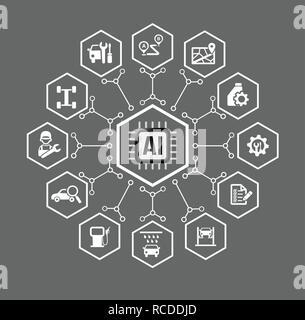 AI Künstliche Intelligenz Technologie für Auto Fahrzeug und Verkehr Konzept Symbol in Hexagon-form mit Anschluss Line Design element Vektor illus eingestellt - Stockfoto