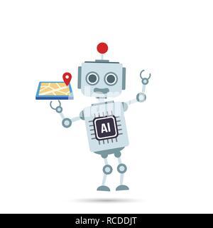 AI Künstliche Intelligenz Roboter hält gps Map element Vector eps Abbildung 10 - Stockfoto