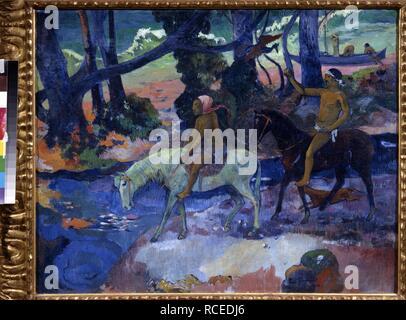 Der Ford (Der Flug). Museum: Staat A Puschkin-Museum für bildende Künste, Moskau. Autor: Gauguin, Paul Eugéne Henri. - Stockfoto