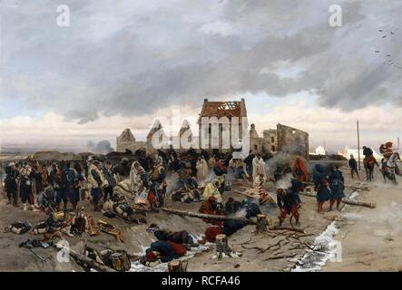 Biwak in Le Bourget. Museum: Musée de l'Histoire de France, Château de Versailles. Autor: Neuville, Alphonse Marie, de. Stockfoto