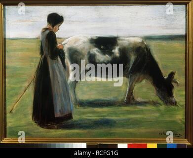 Mädchen mit Kuh. Museum: Staat A Puschkin-Museum für bildende Künste, Moskau. Autor: Liebermann, Max. - Stockfoto