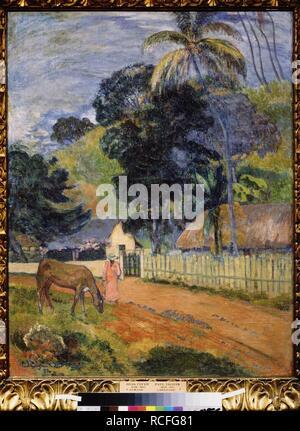 Landschaft. Ein Pferd auf einer Straße. Museum: Staat A Puschkin-Museum für bildende Künste, Moskau. Autor: Gauguin, Paul Eugéne Henri. - Stockfoto