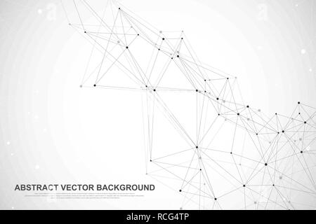 Futuristische abstract vector Hintergrund blockchain Technologie. Peer-to-Peer Network Business Konzept. Globale cryptocurrency blockchain Vektor Banner. Wave Flow - Stockfoto
