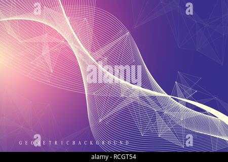 Große genomische Daten Visualisierung. DNA-Helix, DNA-Strang, DNA Test. Molekül oder Atom, Neuronen. Abstrakte Struktur für Wissenschaft oder medizinischen Hintergrund, Banner. Wave Flow