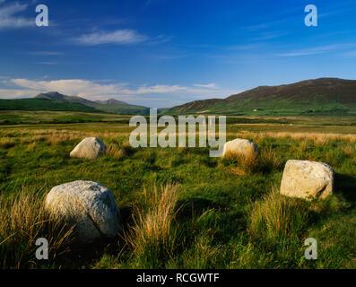 Machrie Moor Steinkreise, Isle of Arran, Schottland, Großbritannien: Vier (es kann eine fünfte Stein auf SW wurden) Granitfelsen der Kreis IV NE Ziege fiel. - Stockfoto