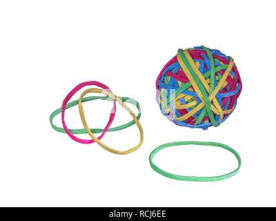 Ball der Gummibänder und single Gummibänder, weißer Hintergrund - Stockfoto