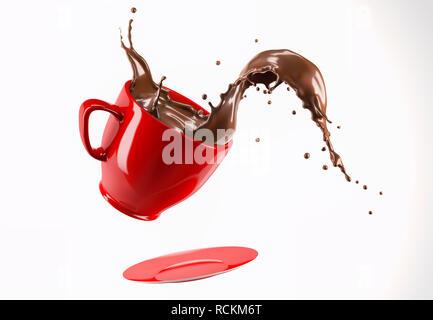 Red Porzellanbecher Tasse und Untertasse springen mit flüssiger Schokolade Wave splash. Auf weissem Hintergrund. - Stockfoto
