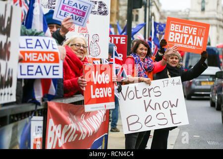 Die Demonstranten werden gesehen, Plakate und Banner während des Protestes. Und anti-brexit Pro-Brexit Demonstranten gesehen protestieren außerhalb der Häuser des Parlaments. Später an diesem Abend nach fünf Tagen Debatte, MPs wird auf der britische Premierminister Theresa's EU Widerrufsrecht deal Stimmen. - Stockfoto