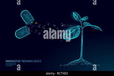 Pflanze sprießen Biotechnologie abstraktes Konzept. 3D-Render Sämling Baum Blätter DNA-Genom engineering Vitamin ergänzen. Medizinische Wissenschaft leben Eco polygon Dreiecke Low Poly Vector Illustration - Stockfoto