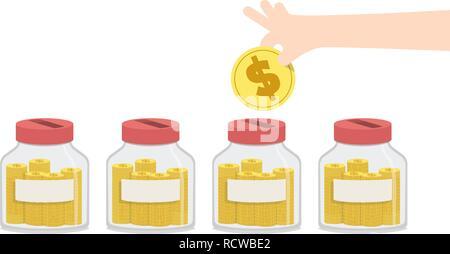 Abbildung: Vektor leer Geld sparen mit Jar für so etwas wie home Reparaturen, Auto Zahlung, Bildung zu verbringen, Aufwendungen für Reisen und so weiter. Fina - Stockfoto