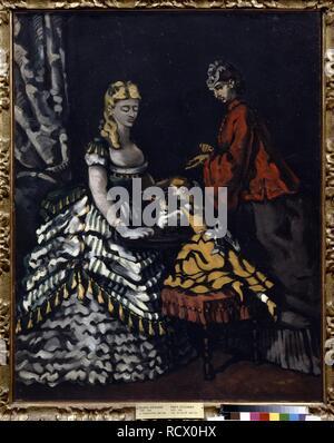 Interieur mit zwei Frauen und ein Kind. Museum: Staat A Puschkin-Museum für bildende Künste, Moskau. Autor: Cezanne, Paul. - Stockfoto