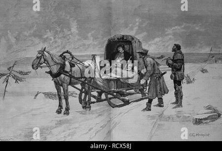 Sten Sture stirbt auf dem Eise des Mälarsees am 3 Februar 1520 Holzstich C 0443