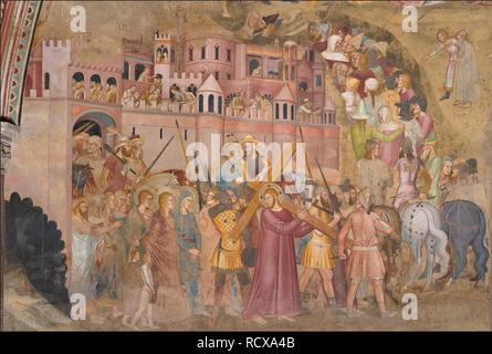Christus das Kreuz tragen. Fresko des Cappellone degli Spagnoli. Museum: Cappellone degli Spagnoli, Florenz. Autor: Andrea di Bonaiuto, (Andrea da Firenze). - Stockfoto