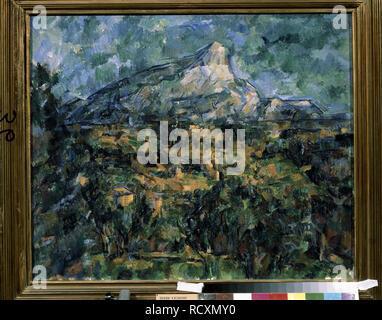 Landschaft in Aix (Mont Sainte-Victoire). Museum: Staat A Puschkin-Museum für bildende Künste, Moskau. Autor: Cezanne, Paul. - Stockfoto