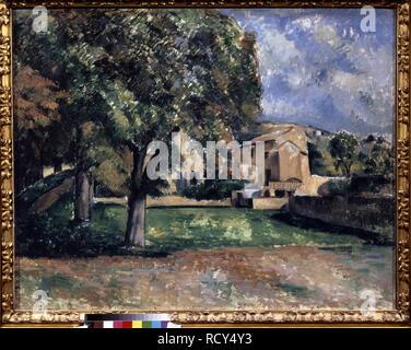Bäume in einem Park. Jas de Bouffan. Museum: Staat A Puschkin-Museum für bildende Künste, Moskau. Autor: Cezanne, Paul. - Stockfoto