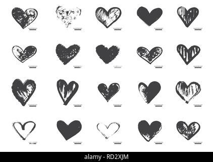 Hand gezeichnet Kalligraphie Herzen isoliert auf weißem Hintergrund. Vector Illustration. - Stockfoto