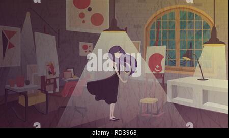 Schmutzige Zimmer Abbildung. Mädchen Schlafzimmer oder Wohnzimmer Dinge in Chaos, Staub auf den Möbeln. - Stockfoto