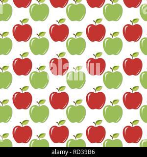 Nahtlose Hintergrund/Textur mit rote und grüne saftige Äpfel mit Blättern und Schatten. Vector Illustration, EPS 10. - Stockfoto