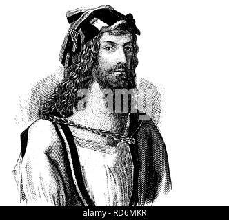 Mode Im Mittelalter Frisur Um 1500 Historische Illustration