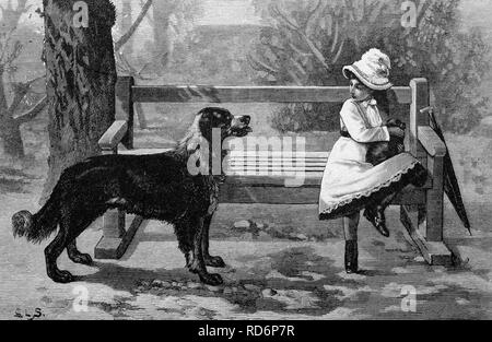 Kind mit einem Hund, historische Abbildung, ca. 1886 - Stockfoto
