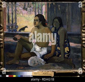 Eiaha Ohipa (funktioniert nicht. Tahitianer in einem Zimmer). Museum: Staat A Puschkin-Museum für bildende Künste, Moskau. Autor: Gauguin, Paul Eugéne Henri. - Stockfoto