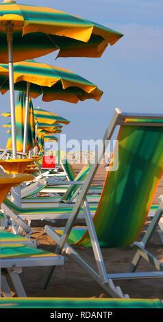 Viele Sonnenschirme und deskchairs am Strand im Sommer - Stockfoto