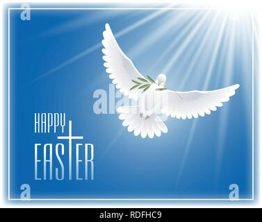 Frohe Ostern. Grußkarte mit Kreuz, fliegende Taube und Olive Branch. Vector Illustration. - Stockfoto