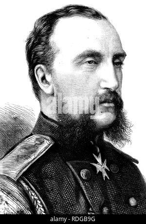 Großartiger Herzog Nicholas Nikolaevich Russlands, top 1831-1891, Kommandeur der russischen Armee, historische Abbildung, 1877 - Stockfoto