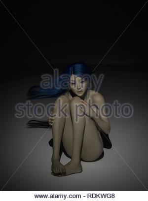 Angst Frau im dunklen 3D-Rendering - Stockfoto