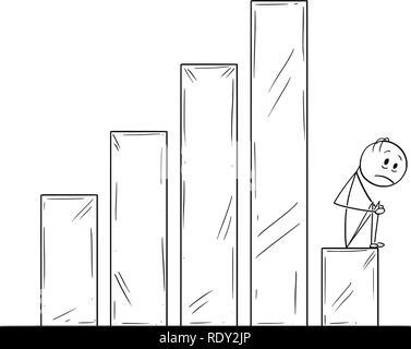 Cartoon von deprimiert oder traurig Mann oder Geschäftsmann Sitzen auf rückläufige Geschäft Tabelle oder Grafik - Stockfoto