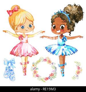 African American Ballerina Prinzessin Charakter Tänzerin Set. Niedliche Kind Mädchen tragen blaue Tutu Kostüm Ausbildung in der Schulklasse. Baby Ballett Poster Design Konzept Flachbild Cartoon Illustration - Stockfoto