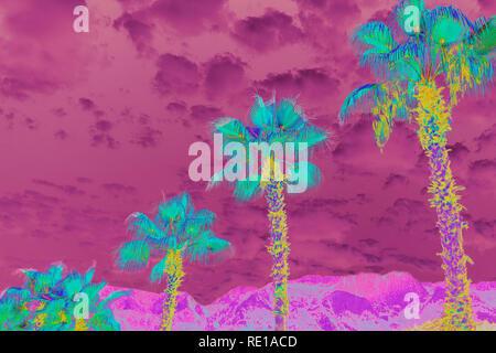 Fantastisch bunte surreale Landschaft mit Palmen und bewölktem Himmel. - Stockfoto