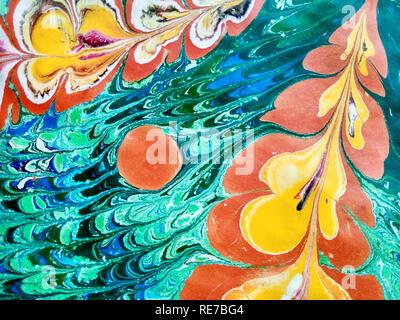 Abstrakte Muster in der Technik der Ebru gemacht. Textur oder Hintergrund. - Stockfoto