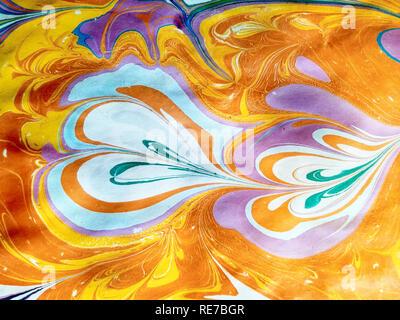 Abstrakte Muster in der Technik der Ebru. Textur oder Hintergrund. - Stockfoto
